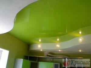 Двухуровневый потолок на кухню салатового цвета