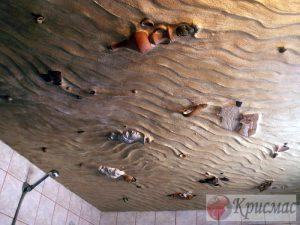 Интересный вариант фотопечати для потолка санузла