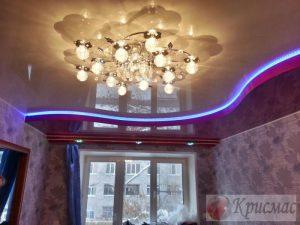 Двухуровневый потолок в спальню со светодиодной подсветкой