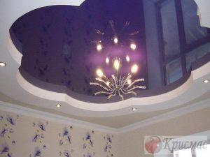 Двухуровневый синий натяжной потолок в детскую