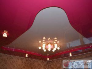Двухуровневый потолок розово белый, спальня