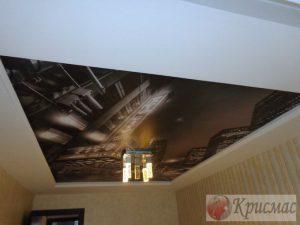 Натяжной потолок с фотопечатью спальня