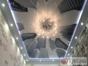 Натяжной потолок с подсветкой и фотопечатью