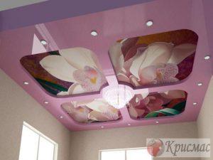 Двухуровневый натяжной потолок со вставками фотопечати
