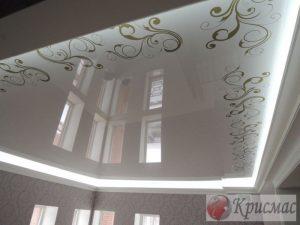 Глянцевый потолок в зал с подсветкой и фотопечатью