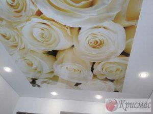 Натяжной потолок в гостиной, розы