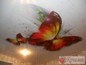 Натяжной потолок в детскую, Бабочки
